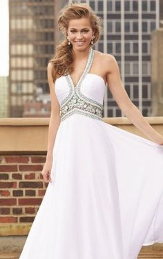 Beaded Chiffon Gown by Madison James Special Occasion 15-103