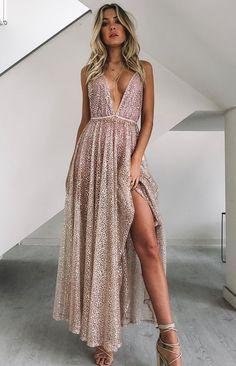Zinna Glitter Maxi Dress Rose Gold – 12 zinna glitter maxi dress rose gold ~ beginning boutique Backless Maxi Dresses, White Maxi Dresses, Ball Dresses, Prom Dresses, Rose Gold Dresses, Rose Gold Party Dress, Formal Maxi Dresses, Pregnancy Formal Dresses, Rose Gold Gown