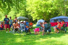 Family Area Camping Spots. Shaded, grassy, and riverfront sites!