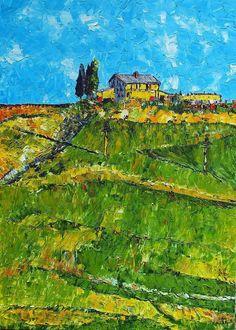 Toscany Italy Oil 50x70 Spatula & Graphic Pen
