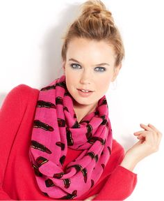 Betsey Johnson Wrap, Lipstick Infinity Scarf - Handbags & Accessories - Macy's