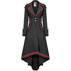 Punk Rave Womens Steampunk Military Coat Jacket Long Black Red Gothic... ($37) ❤ liked on Polyvore featuring outerwear, coats, gothic military coat, red coat, steampunk coat, long coat and field coat