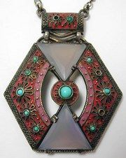 ART DECO Possible Fahrner matte enamel oriental style pendant based on resemblance to the prior pieces. Several small marks on the side probably designer marks looks like j.p. bb or 88 and j.m. There are also several illegible marks on the ring near the clasp.
