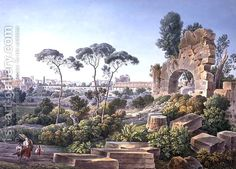 View of the Esquiline Hill, Rome, c.1800 by Louis Francois Cassas