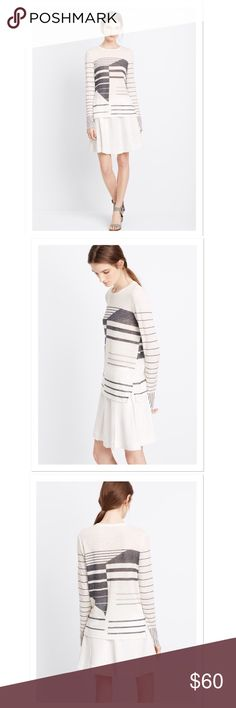 VINCE Long Sleeve Tee VINCE White Abstract Striped Linen Long Sleeve Tee. See 4th pic for material. Vince Tops Tees - Long Sleeve