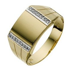 *The Jeweller* Men's 9ct Yellow Gold Diamond Square Signet Ring - Product number 8715556