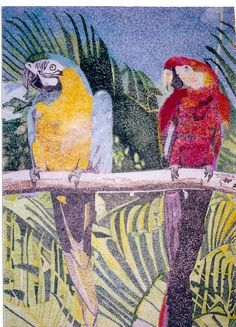 Parrots in pointilism. High school art project made up of dots by Julie Randall