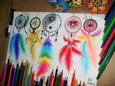 Image via We Heart It #coloredpencils #cool #draw #drawings #dreamcatchers