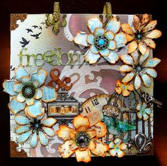 altered canvas with bird in flight | This is an altered canvas that I've created using tons of Tim Holtz ...