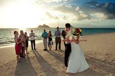 Beach Wedding Ceremony at Sunrise at Lanika Beach Kailua Oahu Hawaii Kailua Oahu, Oahu Hawaii, Portrait Photography, Wedding Photography, Kauai Wedding, Here Comes The Bride, Wedding Ceremony, Sunrise, Beach