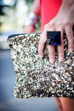 New Year outfit sequin clutch statement ring accessories Spring Fashion, Winter Fashion, Nude Outfits, Clothing Staples, New Years Outfit, Nail Ring, Yellow Turquoise, Ootd, Statement Jewelry