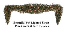 9 Ft Elegant Christmas Holiday Pre Lit Garland Swag Clear Lights Pine Cones & Red Berries  http://www.fivedollarmarket.com/9-ft-elegant-christmas-holiday-pre-lit-garland-swag-clear-lights-pine-cones-red-berries/