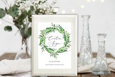 Lily of the Valley Custom Wedding Sign, Greenery Fully Editable Wedding Sign, Green Wedding Sign, Wedding Table Sign, Templett Wedding Menu Template, Wedding Menu Cards, Wedding Signs, Wedding Events, Wedding Ideas, Weddings, Wedding Guest Book, Wedding Table, Chic Wedding