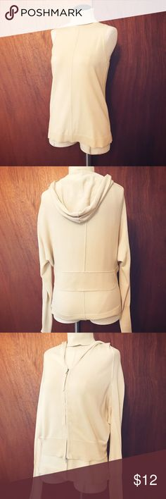 Sleeveless Top with Matching Midriff Jacket Cream colored turtle neck sleeveless top, with matching jacket with hood. Perfect for a slightly breezy evening or the office. Dry clean, Very good condition. Worthington Tops Sweatshirts & Hoodies