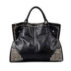 23ab1f266 2017 New Hot Casual Mulheres PU Bolsas de Couro bolsa Moda Brilhante Rivet  Falsificados bolsas Diamante