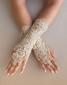 champagne Wedding gloves free ship bridal lace by WEDDINGHome, $39.00 -repinned from Southern California celebrant https://OfficiantGuy.com