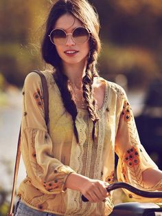 Yellow boho-chic embroidered top ...
