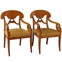 FIne Pair of Swedish Late Empire Arm Chairs   From a unique collection of antique and modern armchairs at https://www.1stdibs.com/furniture/seating/armchairs/