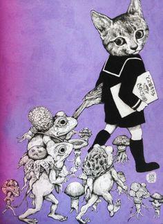 "Illustration by Yuko Higuchi, ""Higuchi Yuko Artworks"" by Graphicsha. Art And Illustration, Illustrations, Collage, Adventures In Wonderland, Japanese Artists, Whimsical Art, Cat Art, Modern Art, Fairy Tales"
