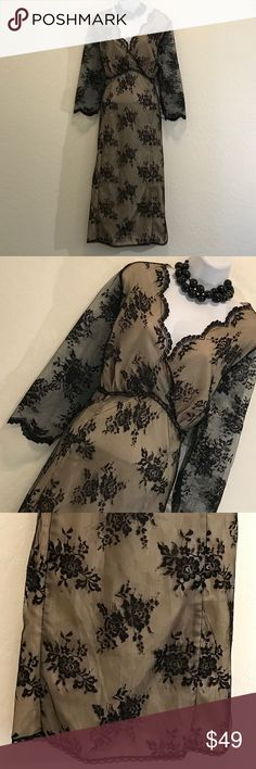 🎉HP🎉NWOT Lace Formal Dress Never Worn, Gorgeous, Elbow Sheer Lace Sleeve, Black Print Lace Overlay, Perfect for any Formal Dinner. Studio Dresses