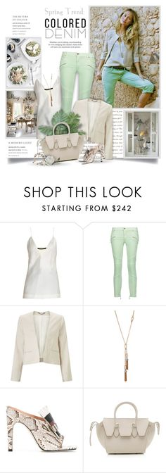 """""""Colored Denim"""" by thewondersoffashion ❤ liked on Polyvore featuring Prada, Haider Ackermann, Just Cavalli, Jigsaw, Lulu Frost, Sergio Rossi and CÉLINE"""