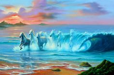 Wild Waves * Artist Jim Warren Fantasy Myth Mythical Mystical Legend Whimsy Hidden Surreal Nature