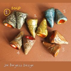 Polymer clay cones 5 pair Polymer bead caps by JBDRusticOrganic