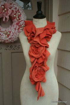 Tangerine upcycled sweater scarf