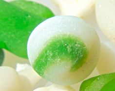 Beach Sea Glass Hawaii 2 MARBLES! GREEN SWIRLS! BIG Textured LIME! Beach glass  10/12. Double click the photo to purchase. $24