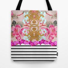 Fashion Girly Pink Vintage Floral Trendy Stripes Pattern Tote Bag