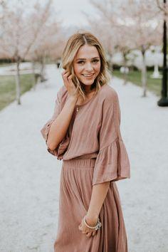 Textured Mauve Dress | ROOLEE Women's Fashion