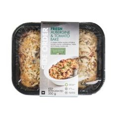 Fresh Aubergine & Tomato Bake 350g   Woolworths.co.za Food Packaging Design, Food Preparation, Baked Potato, Side Dishes, Meals, Fresh, Baking, Ethnic Recipes, Google