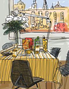 Ilustración de Javier Mariscal. Empezar el día-barcelonaindesign.com
