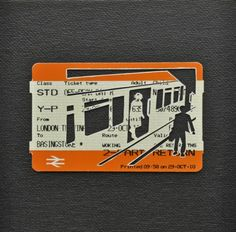 "Please Mind The Gap: Late Evening Train    Cut Out Train tickets on canvas  2011   5""x 4""    SOLD"