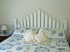 Picket Fence Headboard ~ Love the shabby chic, cottage feel when looking at this!
