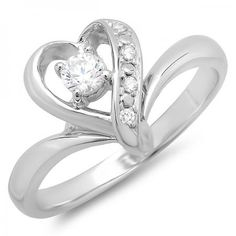 Thanks for Sharing!  0.30 Carat (ctw) 14K White Gold Round Cubic Zirconia Heart Shaped Promise Bridal Ladies Engagement Ring (Size 7) - Dazzling Rock #https://www.pinterest.com/dazzlingrock/