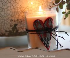 Brave Girls Club - 1 thrifted sweater - 23 projects! - Heart-Wrapped Candle
