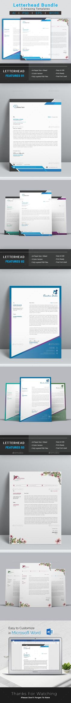 Buy Letterhead Bundle by DesignDevisers on GraphicRiver. Letterhead Bundle Letterhead Bundle it is a professional and clean work. The design has a great selection of high qua. Letterhead Design, Letterhead Template, Page Layout, Layouts, Change Image, Group Photos, Background Templates, Color Change, Photoshop