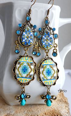 Portugal Antique Azulejo Tile Replica Chandelier Earrings, Aqua and Yellow ESGUEIRA and Feira Bohemian Hippie Persia Arab
