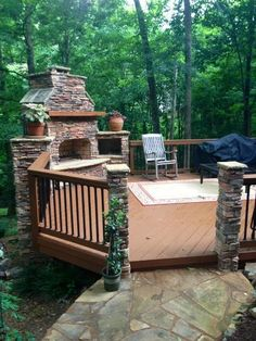#InspiredDeck  Trex deck with outdoor fireplace in Charlotte, NC