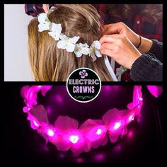 LED flower Crown White floral crown headband by ElectricCrowns