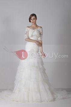 Aラインスイートハートネック床長さのアップリケチャペルウェディングドレス