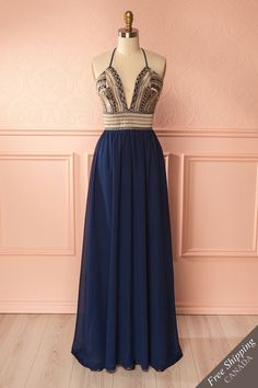 Navy gown with gold embroidered bodice - Robe longue marine avec broderies dorées à la corsage