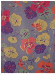 art deco fabric nasturtiums
