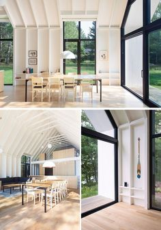 On the long sides of this modern house, there are three large, tall glass panels, allowing seamless transitions between interior and exterior spaces. Attic House, Attic Loft, Attic Office, Attic Apartment, Attic Rooms, Attic Playroom, Attic Bathroom, Attic Renovation, Attic Remodel