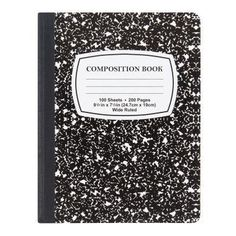 *BLACK & WHITE MARBLE COMPOSITION NOTEBOOK - 100 SHEETS
