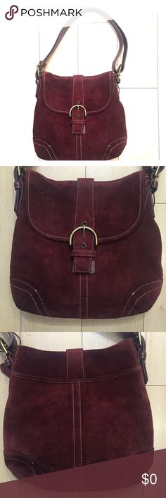 Coach Burgundy Purse Burgundy is an amazing color that can be used year round. This purse is pre loved in great condition and has lots of life left. This beauty comes with a dust bag. Open to reasonable offers! Coach Bags Shoulder Bags