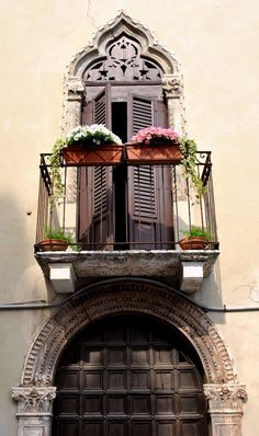 """Romeo, Romeo where for art though Romeo?"" In Verona, Italy apparently. Enjoy a romantic City break in the deliciously romantic city of Verona, Italy. Turin, The Places Youll Go, Places To Visit, Beautiful World, Beautiful Places, Windows And Doors, Architecture, Italy Travel, Places To Travel"