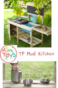 """TP Muddy Madness Mud Kitchen let their """"role play"""" imaginations hum with activity. Who's for baked mud pies! Outdoor Play Kitchen, Mud Kitchen, Outdoor Kitchens, Kitchen Cart, Sand Pits For Kids, Stainless Steel Pans, Garden Toys, Mud Pie, Role Play"""