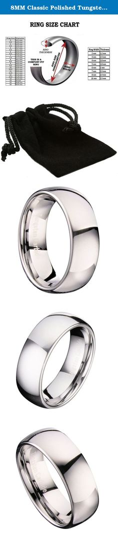 8MM Classic Polished Tungsten Carbide Mirror Finished Band Wedding Ring Size 9.5. The Metals Jewelry Collection Welcome to the Metals Jewelry Collection. We stock over 30,000 rings with a growing selection of pendants and earrings. Best known for our excellent customer service and unsurpassed quality plus incredible value! Here you will find a Special gift for that someone Special. This 8MM Classic Polished Tungsten Carbide Wedding Ring boasts a mirror finish, suitable for a man or woman.